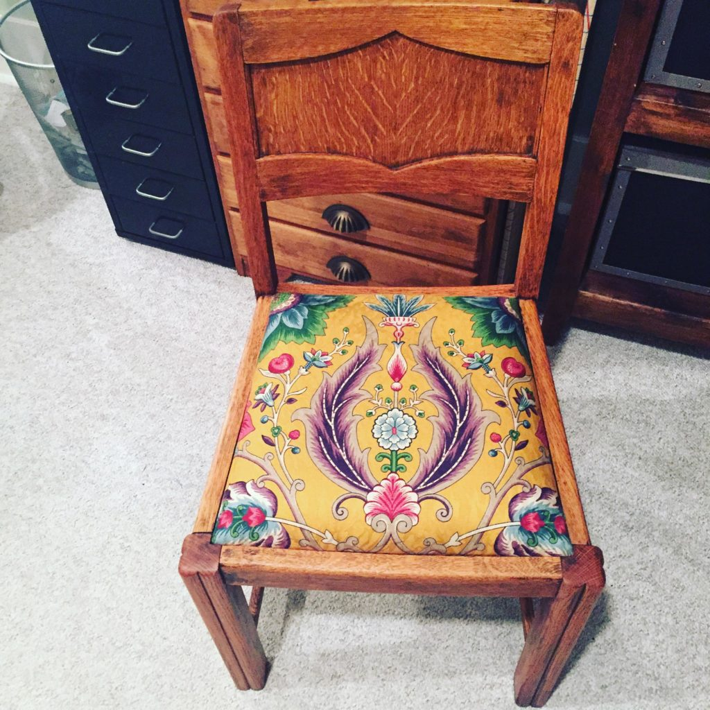 Since You Have Leftover Fabric Why Not Find More Chairs To Reupholster! I  Managed To Reupholster A Few Chairs With My Thrift Store Find.